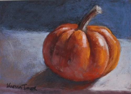 Small pastel painting of squash and pumpkin