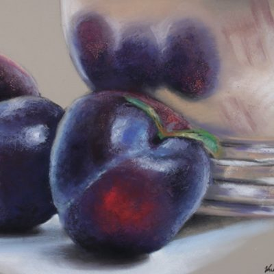 Pastel painting of purple plum with silver reflective bowl