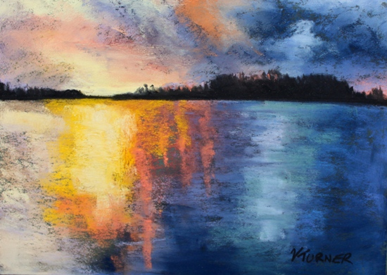 Bermuda artwork Pastel painting of sunset
