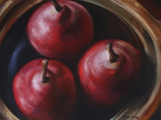 Pastel painting of three red plums in brown wooden bowl