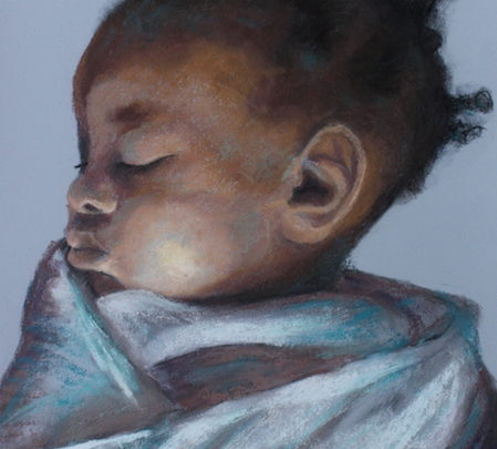 Pastel painting of black baby sleeping wrapped in cloth