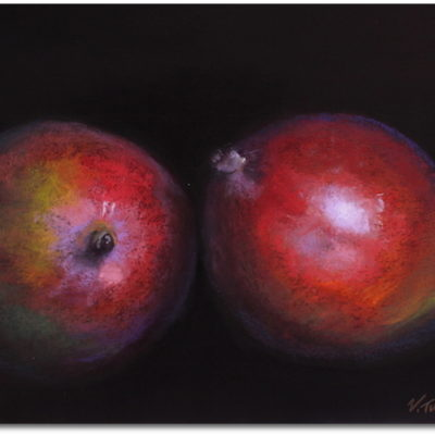 Pastel painting of mangos on black paper by artist Vanessa Turner