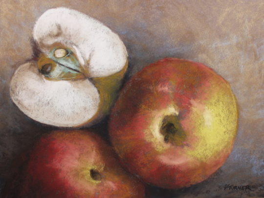 Pastel painting of apples on sanded paper by Vanessa Turner