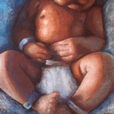 Newsletter - Pastel painting of baby skin folds by artist Vanessa Turner