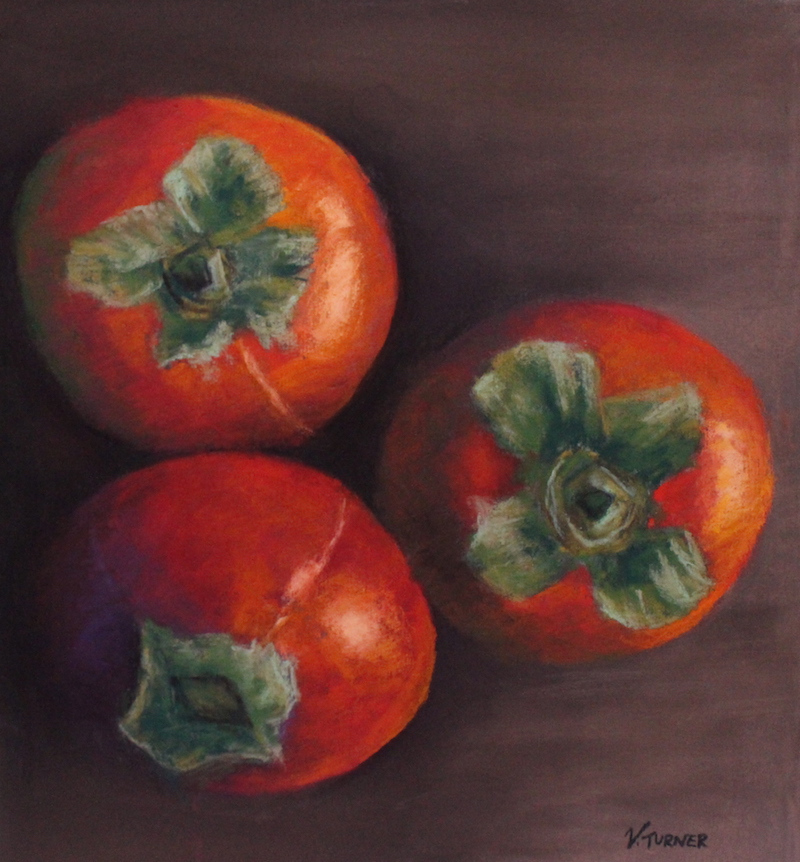 Pastel painting of red persimmons by artist Vanessa Turner