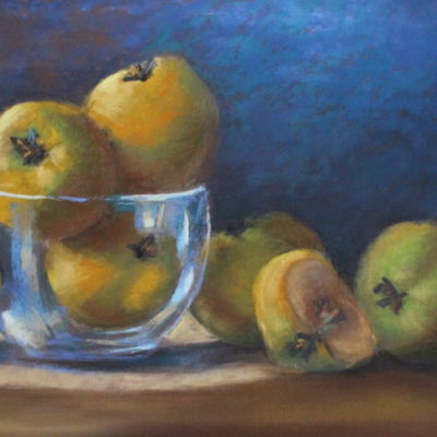 Pastel painting of yellow apples in glass bowl by artist Vanessa Turner
