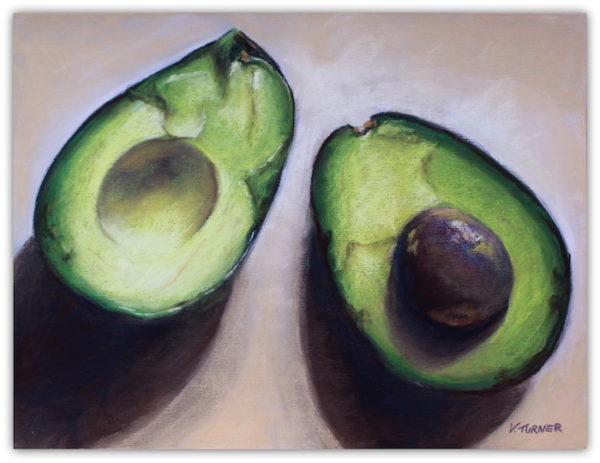 Pastel painting avocados on sanded paper by artist Vanessa Turner