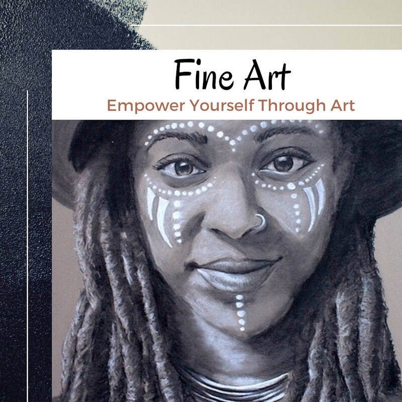 Vanessa Turner Artist and Creativity Coach - Charcoal Portrait of Woman with Locs