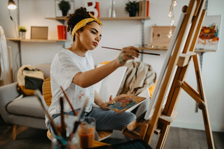 Creating Without An Art Studio - Artist At Easel